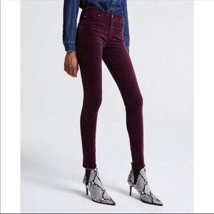 AG Farrah High Rise Skinny Velvet Pants Carmine 32